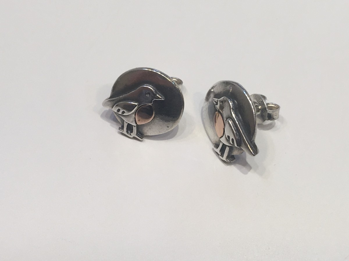 f2e8464f1 Robin Earrings in Silver & Rose Gold - Acorn Jewellers of Bakewell
