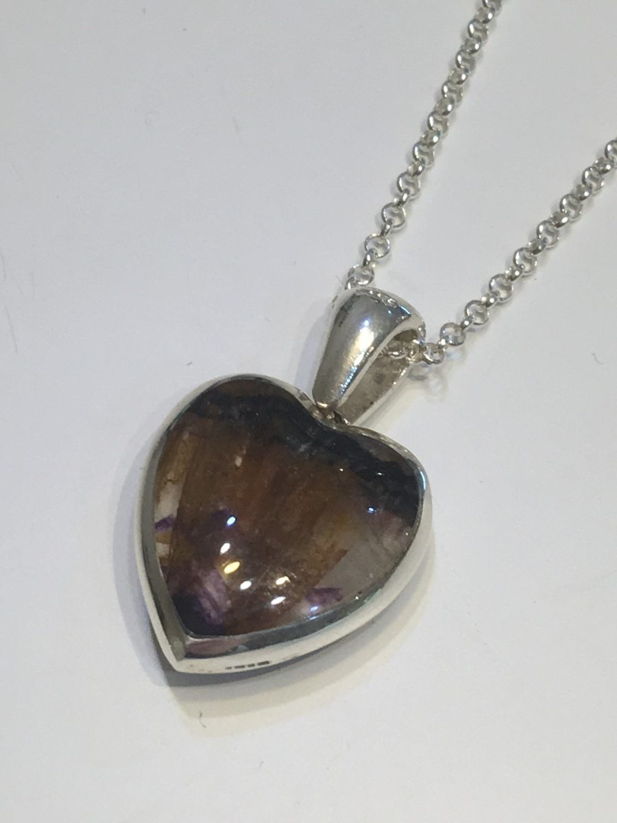 84325af60 Blue John & Whitby Jet Silver Heart Pendant - Acorn Jewellers of ...
