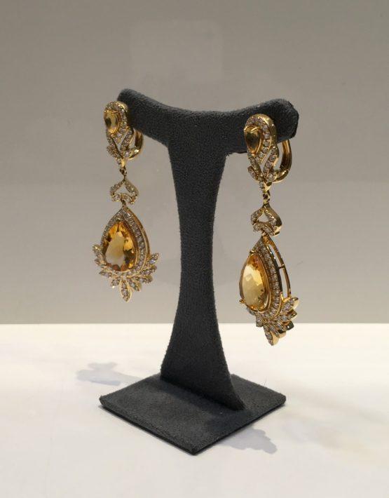 Pear Citrine & Diamond Drop Earrings