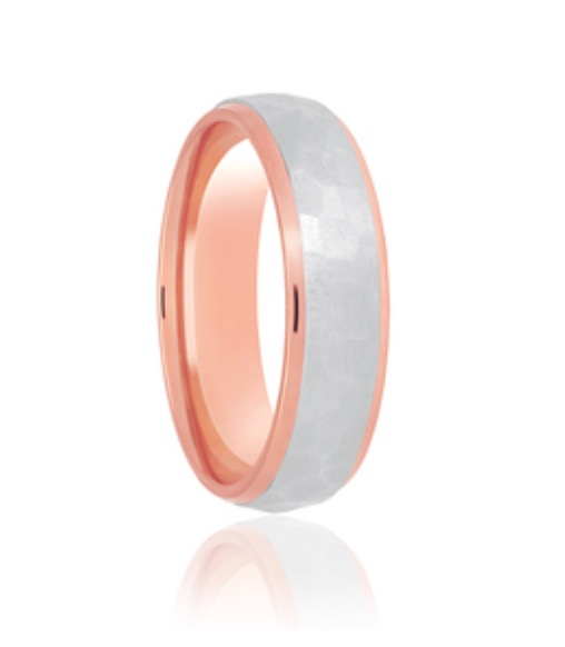 Two colour Hammered Satin Wedding Ring ACDC178