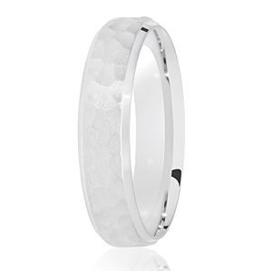 5mm Hammered Satin Centre Wedding Ring White Gold Palladium or Platinum