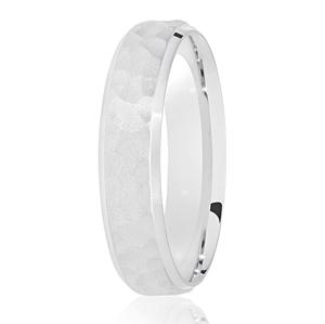 5mm Hammered Satin Centre Wedding Ring White Gold Palladium or Platinum