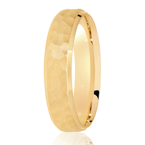 5mm Hammered Satin Centre Wedding Ring Yellow Gold