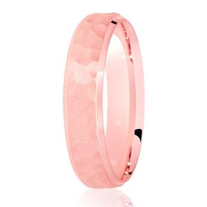 5mm Hammered Satin Centre Wedding Ring Rose Gold