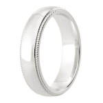 5mm Polished centre Court band with Milgrain edges Wedding Ring