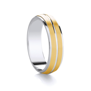 Two Colour 6mm Two Stripe Wedding Ring