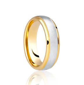 Two Colour 6mm Brushed Centre polished Edge Wedding Ring DC313BC