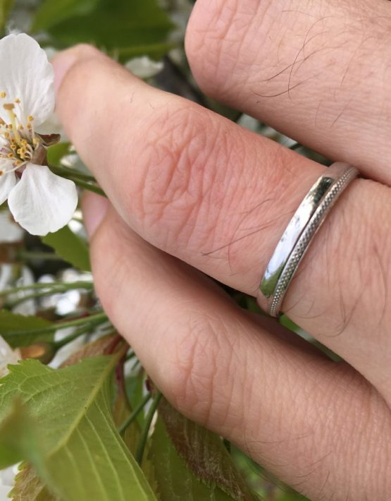 3mm Polished 2/3 Court band with 1/3 Accent Pattern Wedding Ring DC146