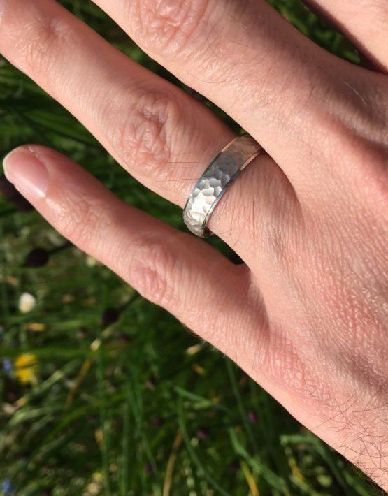 5mm Hammered Satin Centre Wedding Ring DC140