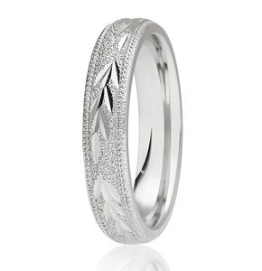 4mm Frosted Garland Court Band with Milgrain edged Wedding Ring DC167