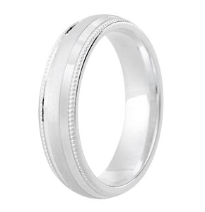 4mm Milgrain edge Court band with Satin Centre and diamond cut detail DC129