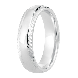 3mm Polished Finish Court Band with Pearl tool Cut edge detail Wedding Ring DC123