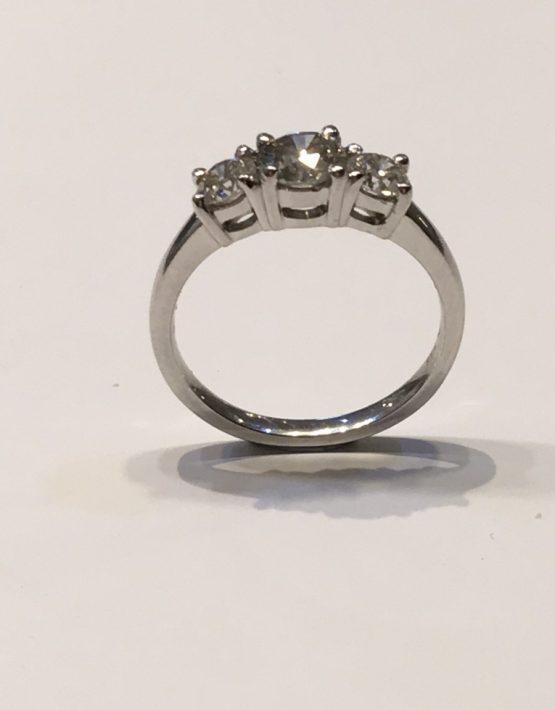 1.13 carat Platinum Diamond Trilogy Ring