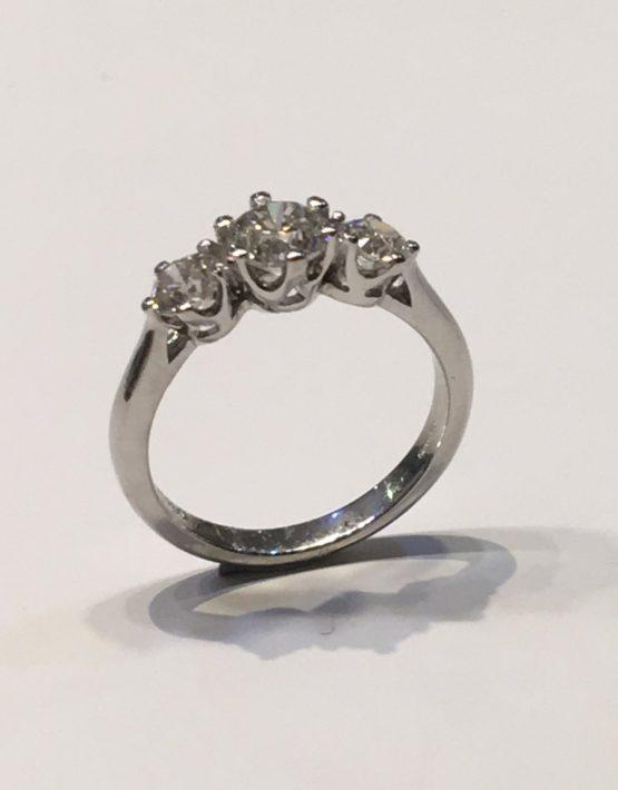 1.32 ct Platinum Diamond Trilogy Ring
