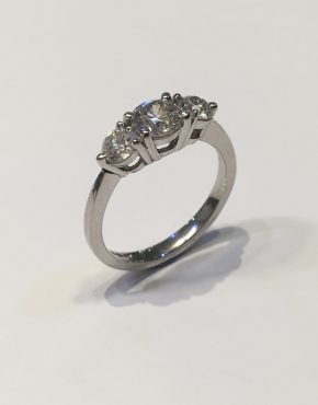 1.28ct Platinum Diamond Trilogy Ring