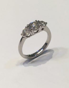 1.28ct Platinum Diamond Trilogy Ring