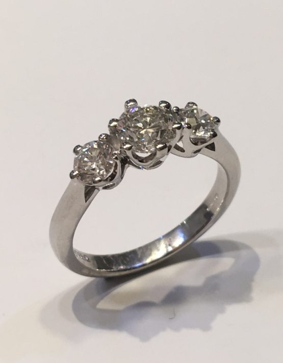 1.32 ct Platinum Diamond Trilogy Ring