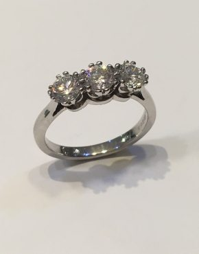 1.22 carat Platinum Diamond Trilogy Ring