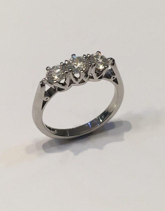 1.08 carat Platinum Diamond Trilogy Ring