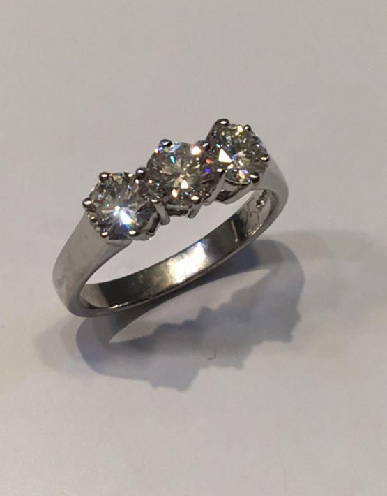 1.25 carat Diamond Trilogy Ring 18ct White Gold