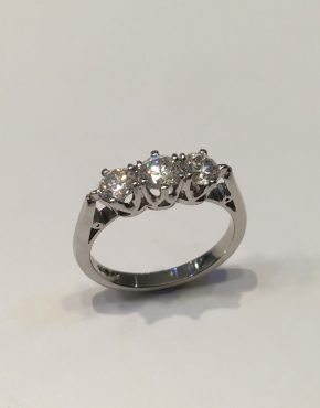1.08 carat Platinum Diamond Trilogy Ring