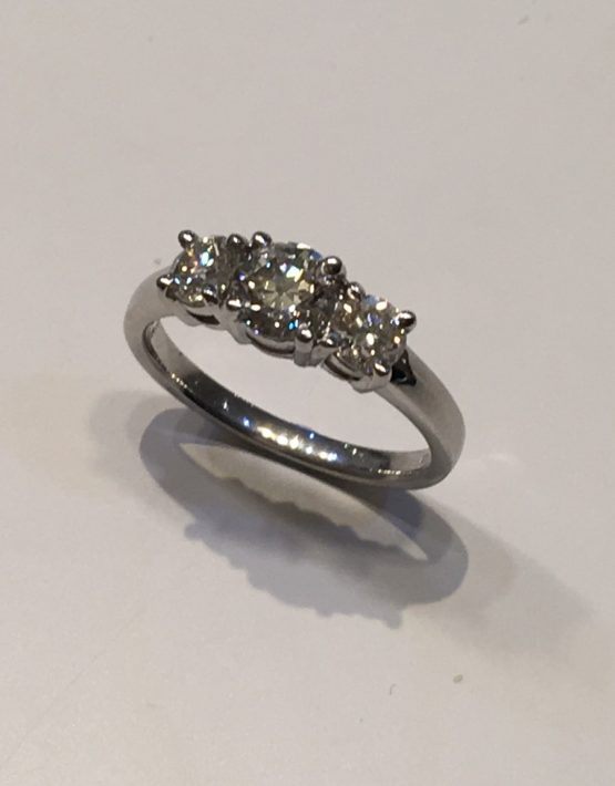 1.13 carat Platinum Diamond Trilogy Ring