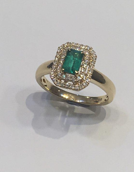 Art Deco Baguette Emerald with Diamond Double Halo