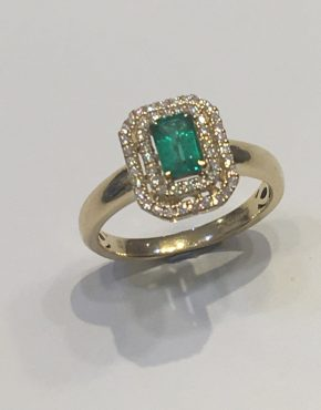Art Deco Baguette Emerald with Diamond Double Halo