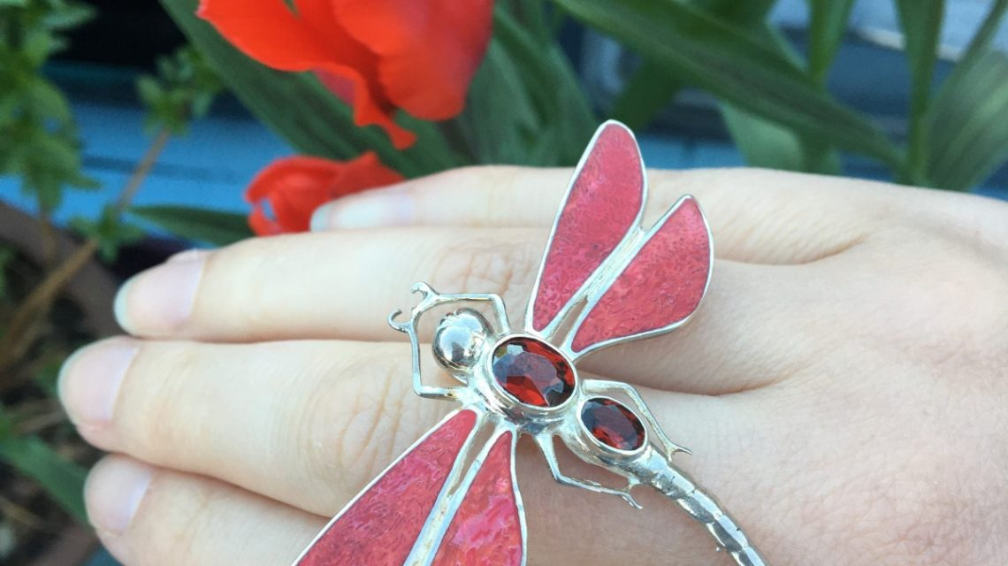 Red Dragonfly Brooch with open tulip