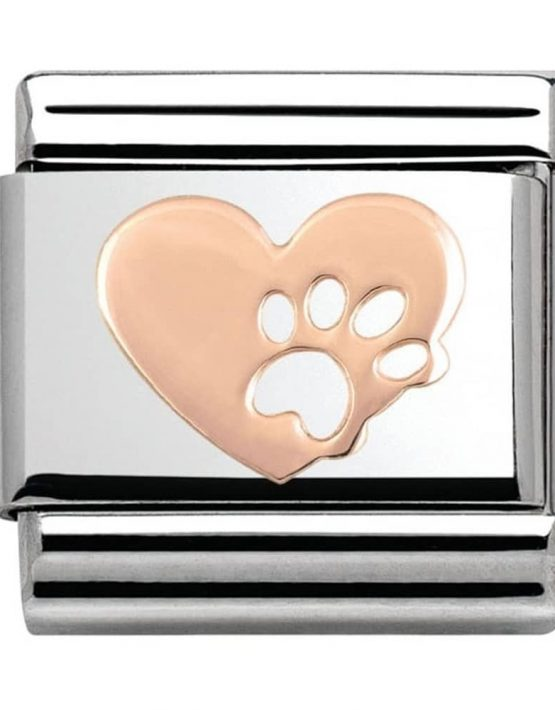 Nomination Classic Rose Gold Heart Pawprint Charm 430104/12