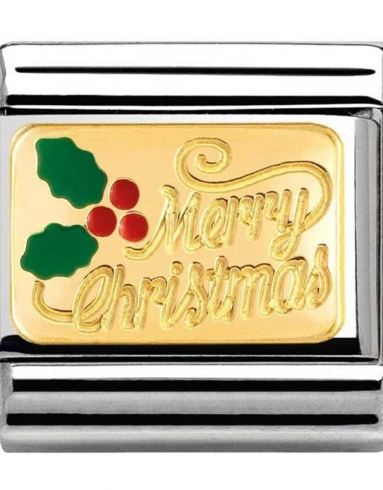 Merry Christmas with Holly Charm. Nomination Classic Gold Charm 030282/17