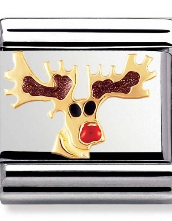 Rudolph the Rudolph the Red-Nosed Reindeer Charm. Nomination Classic Gold Charm 030225/08
