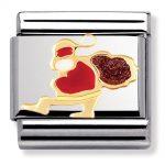 Santa Claus Sleigh Charm. Nomination Classic Gold Charm 030225/10