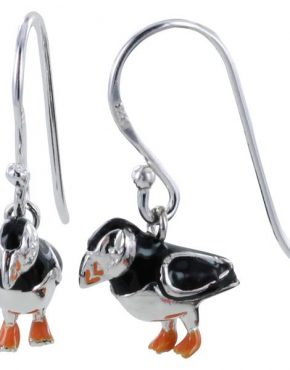 Portly Puffin Silver Earrings