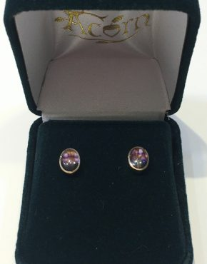 Blue John Oval Studs 9ct Gold AC9YER1301