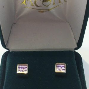 Blue John Square Studs 9ct Gold AC9YER1359