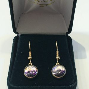 Blue John Round Drop Earrings 9ct Gold AC9YER1542
