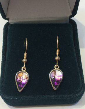 Blue John Pear Drop Earrings 9ct Gold AC9YER1543