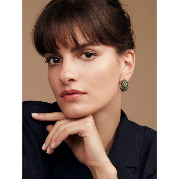 frog prince earrings on model