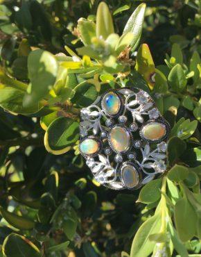Welo Opal Floral Brooch