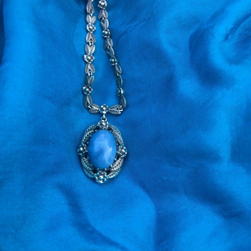 Blue Opal Necklace on Blue