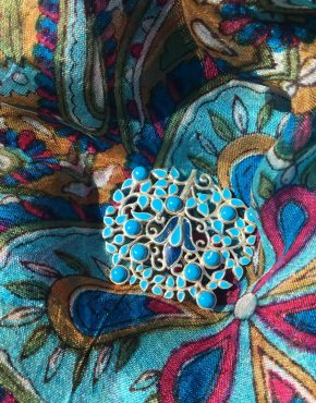 Turquoise and Enamel Brooch