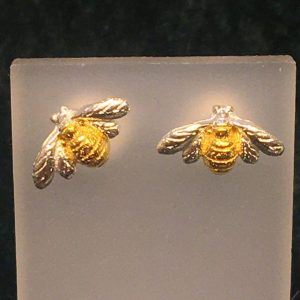 Small Silver Bee Stud Earrings with Gold Highlights SG2842