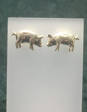 Silver Pig Stud Earrings RRBB207