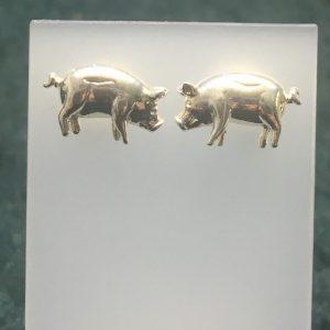 Silver Pig Stud Earrings RRBB207