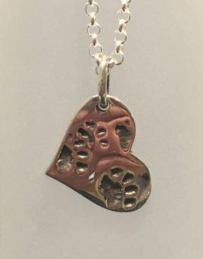 Paw Print Heart Pendant Silver SGP3482