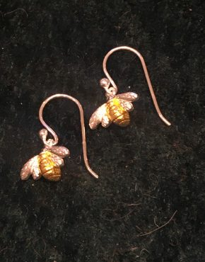 Small Silver Bee Drop Earrings with Gold Highlights SG2841