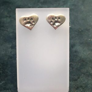Paw Print Heart Stud Earrings Silver SGP3484