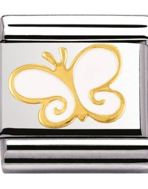Nomination Charm. Classic Gold White Butterfly Charm 030278/03