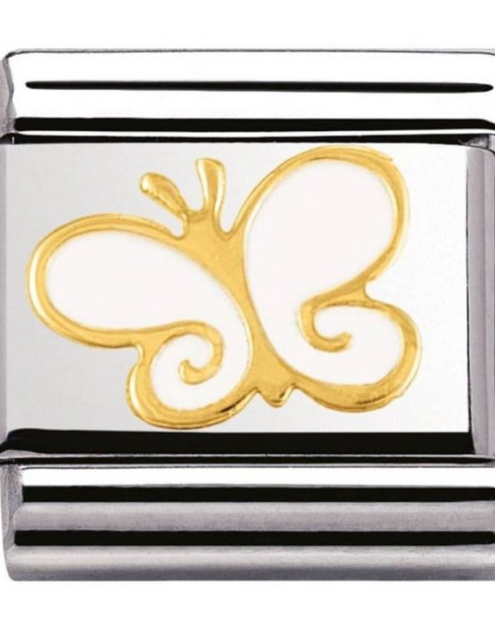 Nomination Charm. ClassicGold White Butterfly Charm 030278/03